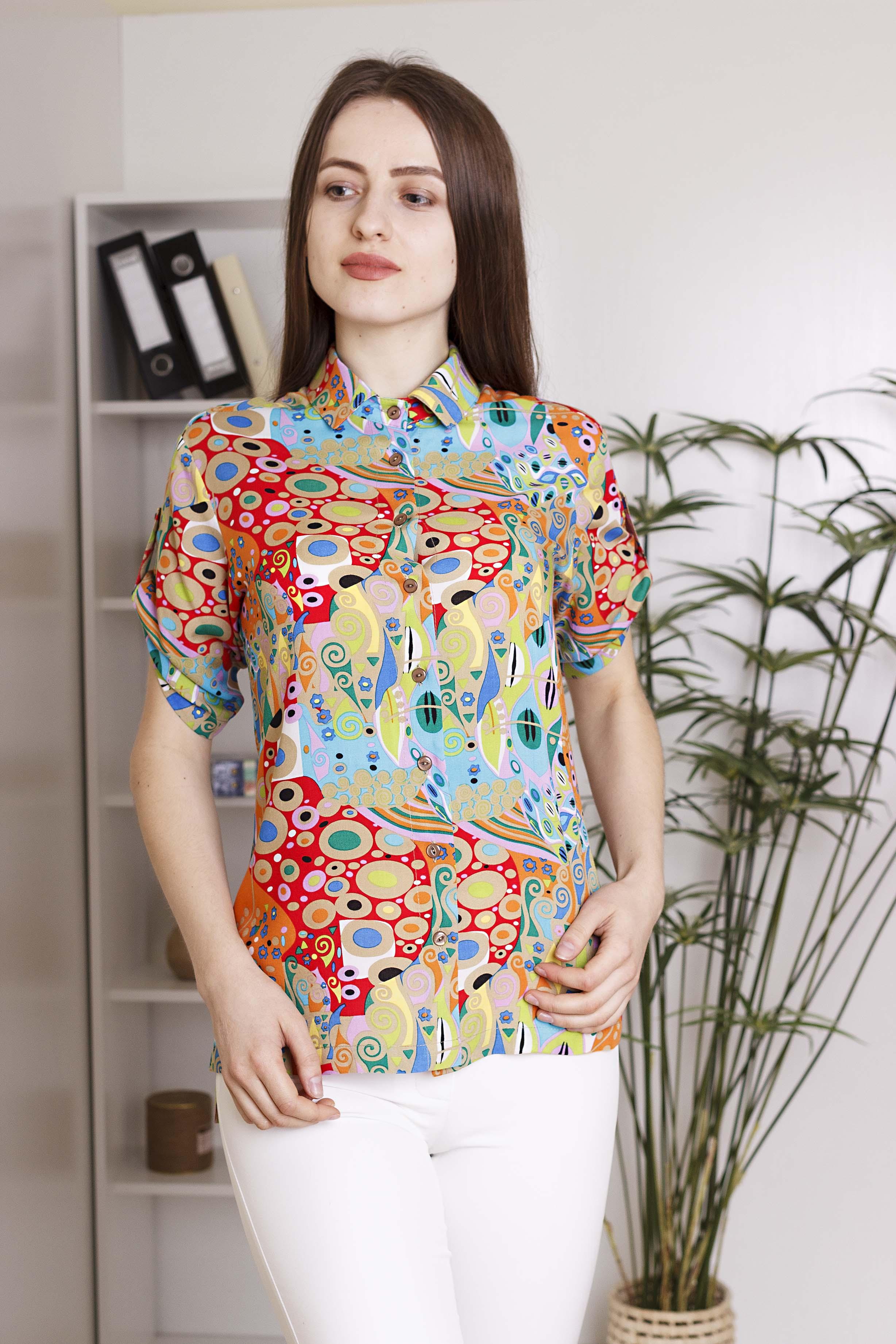Блуза акварель рукав